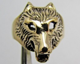 HEAD WOLF BRONZE RING SIZE 7 QT 697