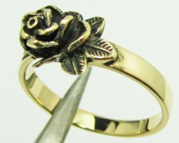 ROSE FLOWER BRONZE RING SIZE7 QT 705
