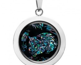 wombat Opal locket ,opal etched SB555