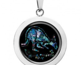 Kangaroo Opal locket ,opal etched SB563