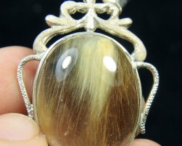 925 sterling silver  Stone Quartz with Yellow retiled cabochon.