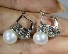French clip 8 mm fresh water pearl earrings PPP1231