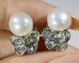 French clip 8 mm fresh water pearl earrings PPP1233