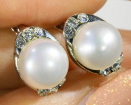 French clip 8 mm fresh water pearl earrings PPP1244