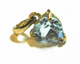 New Faceted Blue 3.5 ct Topaz gemstone pendant with 14K GOLD list $398.00