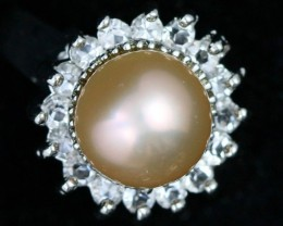 Ring size 8.5 fresh water champagne pearl Ring PPP 1273
