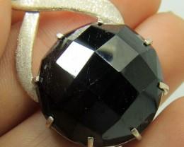 Most Beautiful hand made Checker Cut Black Tourmaline Pendant In 925 Standa
