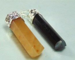 NATURAL GODEN QUARTZAND BLACK TOURMALINE STONE PENDANTS