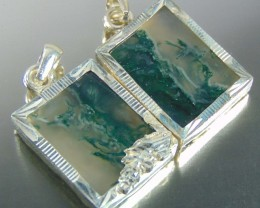 140.00 Natural moss agate jewellery pendent with pure silver