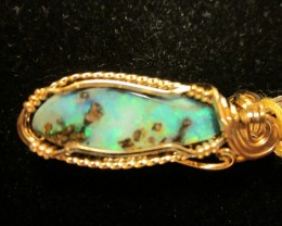 New 20 carat handmade Boulder Opal Gemstone pendant 14k gold wire list 1,49