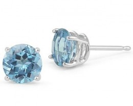 AWESOME 2 CT BLUE TOPAZ 0.925 STERLING SILVER W/ PLATINUM EARRINGS.