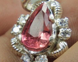 Wow Very Beautiful Hand Made Pendant Of Pink Tourmaline In 925 Silver .