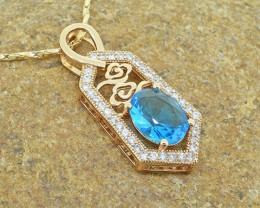 Topaz Simulant Rose gold Goldfilled Pendant