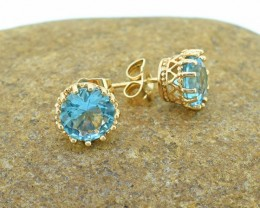 Aquamarine Simulant Goldfilled Stud Earrings