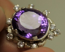 Wow Very Beautiful & Rare Red Hematite In Amethyst In 925 Silver.