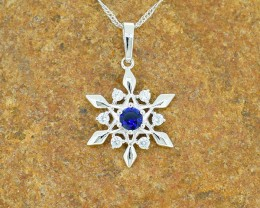 Blue Sapphire-simulated- Goldfilled Pendant