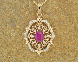 18kt Gold Filled Ruby Simulant Pendant