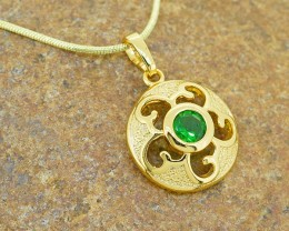 Emerald Simulant Gold Filled Pendant