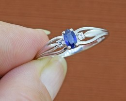 Natural (Near Royal) Blue Sapphire 925 Sterling Silver Ring SIZE - 8 US (SS