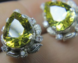 Wow Very Beautiful Hand Made Ear Ring of Yellow CZ Zircon In 925 Silver