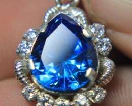 Wow Very Beautiful Hand Made Pendant Of Blue CZ Zircon In 925 Silver .