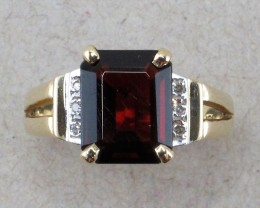 Almandine Garnet in Gold finding with Accent Diamonds