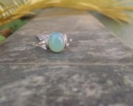 Aqua Chalcedony RING 925 Silver #201
