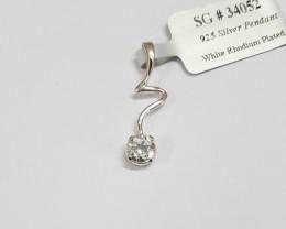 White Topaz Pendant Genuine 925 Silver