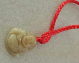 YELLOW JADE BUDDHA PENDANT  / NECKLACE