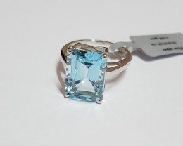 Blue topaz Genuine RING 925 Silver #CJ2