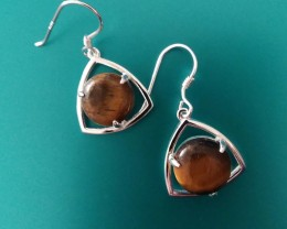 TIGERS EYE EARRINGS STERLING SILVER 925 TRILLION SHAPE WITH ROUND GEMS LOVE