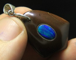 Blue Opal Fix in Opal Mother Rock Pendant From Australia