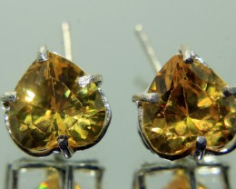 Wow Very Beautiful Hand Made Ear Ring of Yellow CZ Zircon In 925 Silver .