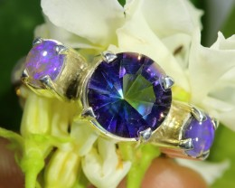 MYSTIC QUARTZ AND CRYSTAL OPAL RING SIZE 7.5 S OJ  6495