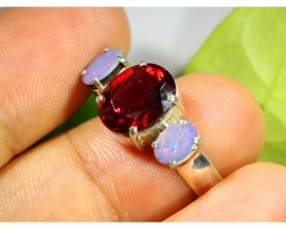 NATURAL GARNET AND DOUBLET  OPAL RING SIZE 9.5    SOJ  6492