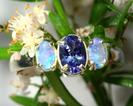 NATURAL GTANZANITE AND CVRYSTAL   OPAL RING SIZE 6.5   SOJ 6499