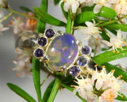 CRYSTAL N TANZANITE  STONE RING SIZE 7 SJ1495