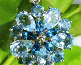 Cute Topaz London Blue Pendant flower shape SJ 1520