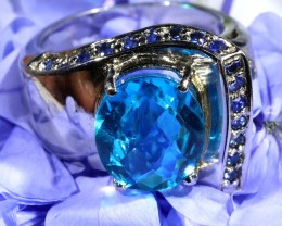 AUTHENTIC  LONDON BLUE TOPAZ  RING  SIZE 6 [SJ1535]