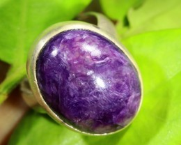 AUTHENTIC RUSSIAN CHAROITE   RING SIZE 6.5  [SJ1538]