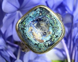 AUTHENTIC  ANCIENT ROMAN GLASS  RING SIZE 8.5  [SJ1539]