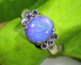 NATURAL AUSTRALIAN OPAL /TANZANITE SILVER   RING SIZE 9 [SJ1543]
