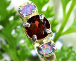 AUTHENTIC  GARNET AND OPAL  SILVER RING SIZE 8 [SJ1550]