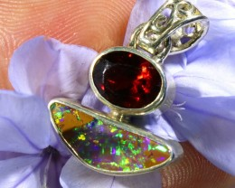 9.60 CTS SILVER BOULDER OPAL WITH GARNET[SJ1463]