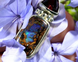 28.70 CTS SILVER BOULDER OPAL WITH GARNET[SJ1464]