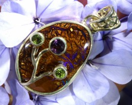 32.95 CTS SILVER YOWAH OPAL WITH PERIDOT AND AMETHYST [SJ1470]