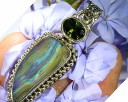 46.30 CTS SILVER BOULDER OPAL WITH PERIDOT [SJ1476]