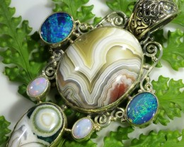 89.25 CTS SILVER AGATE WITH DOUBLET AND SOLID OPAL [SJ1483]
