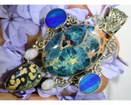 97.40 CTS SILVER APATITE WITH SOLID OPAL AND DOUBLET  [SJ1482]