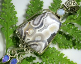 60.00 CTS SILVER AGATE WITH SOLID OPAL [SJ1484]